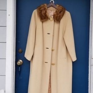 Forstmann Vintage Beige Dress Coat with Mink